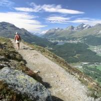 Hiker, Mountains, Engadines, Grabunden, Switzerland