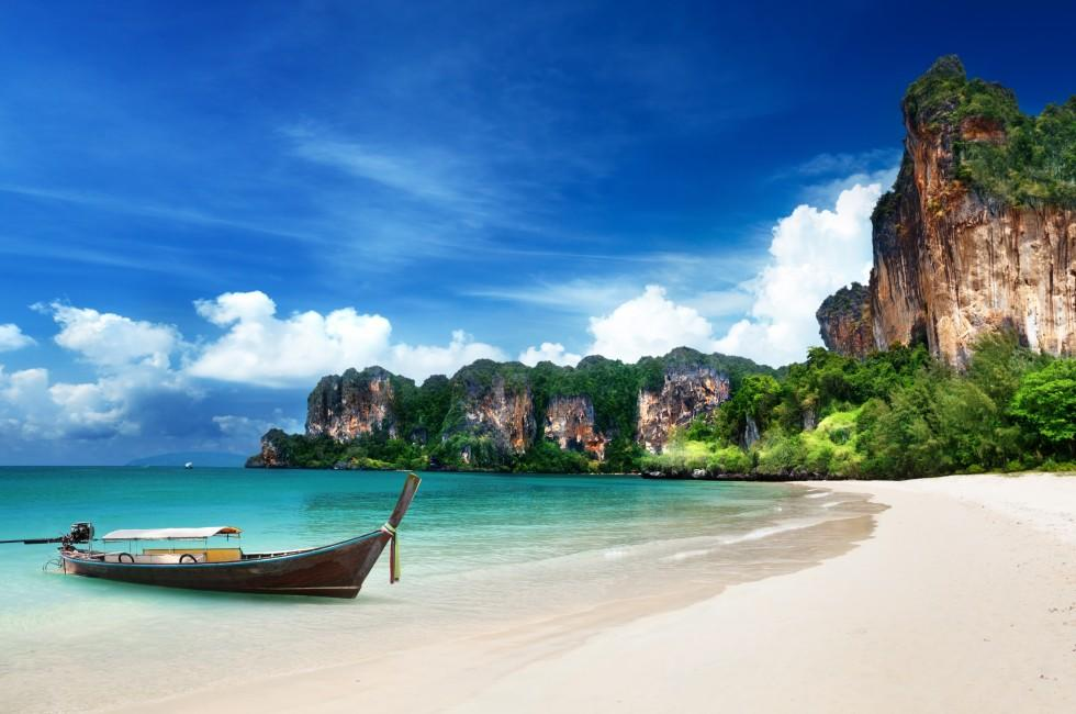 Boat, Railay Beach, Krabi, Phuket and the Andaman Coast, Thailand