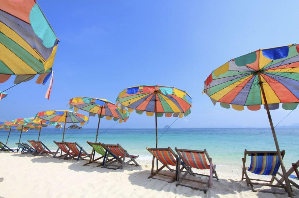 Umbrellas, Chairs, Beach, Phuket, Thailand