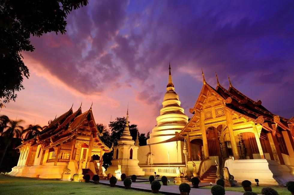 Sunset, Phra Singh Temple, Chiang Mai, Chiang Mai and Environs, Thailand