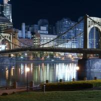 Waterfront, Night, Sixth Street Bridge, Allegheny River, Pittsburgh, Pennsylvania, USA