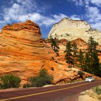 Car, Road, Zion National Park, Utah