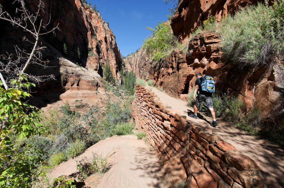 Hiker, Angels Landing Trail, Zion National Park, Utah