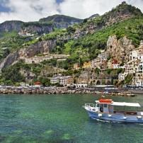 Ferry, Waterfront, Jetty, Amalfi, Amalfi Coast, Naples and Campania, Italy