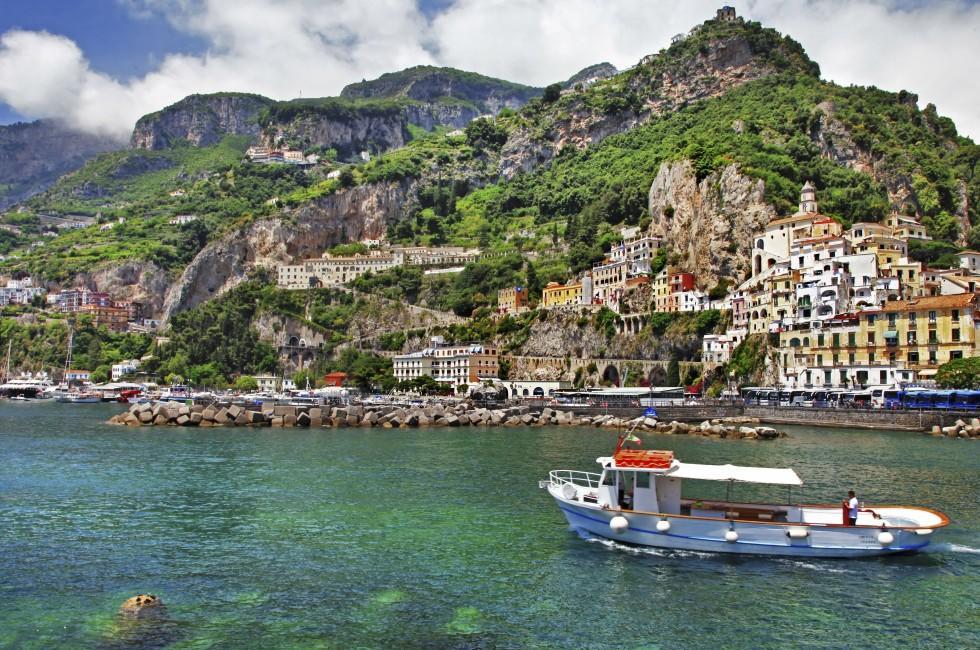 Ferry, Waterfront, Jetty, Amalfi, Amalfi Coast, Naples and Campania, Italy