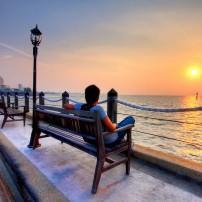 Man, Waterfront, Sunset, Kota Kinabalu, Malaysia
