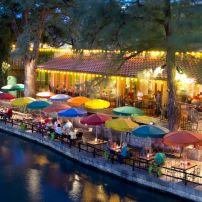 Restaurant, Waterfront, Dusk, River Walk, San Antonio, Texas, USA
