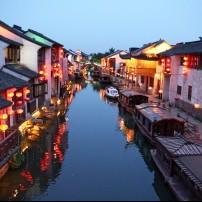 Waterfront, Canal, Old Town, Dusk, Suzhou, China