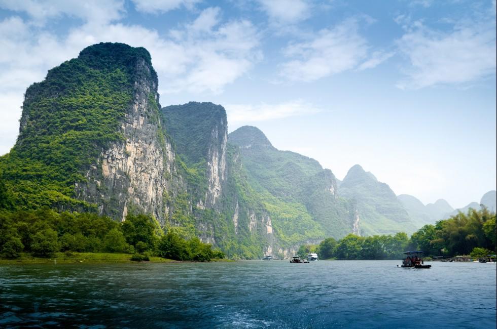 Boats, Yu Long River, Karst Mountains, Yangshuo Guilin, China