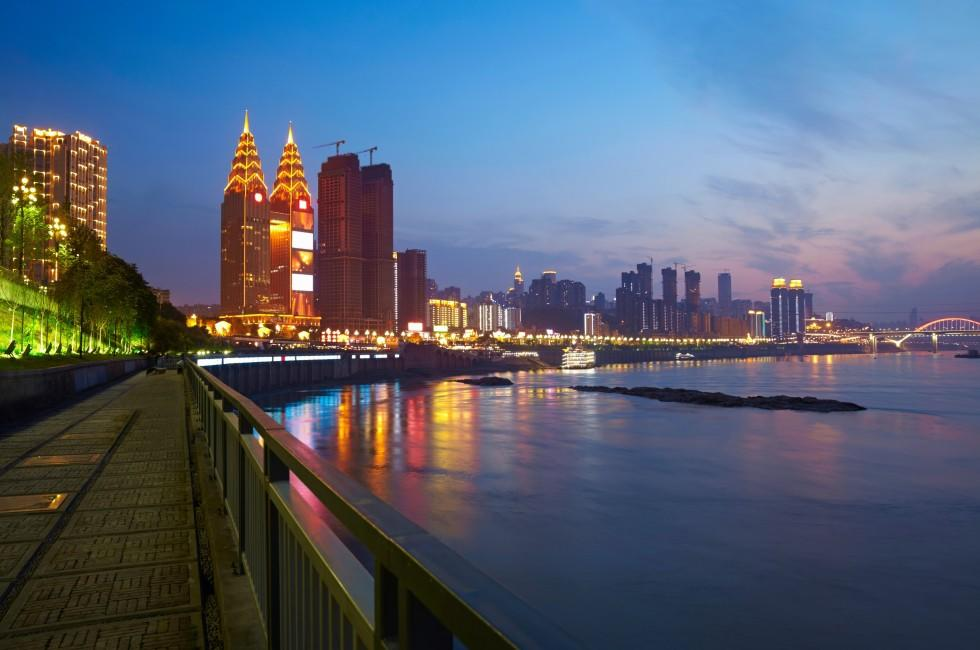 Sunset, Yangtze River, Cityscape, Skyline, Chongqing City, China