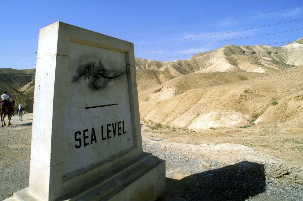 Sea level sign, Dead sea route, Israel.