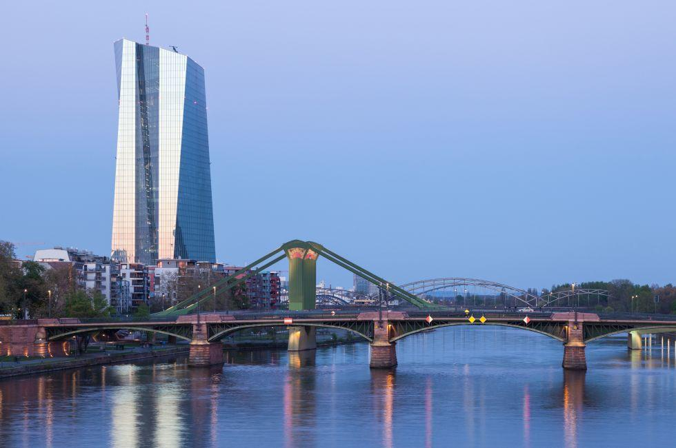 New European Central Bank, River, Bridge, Frankfurt, Germany