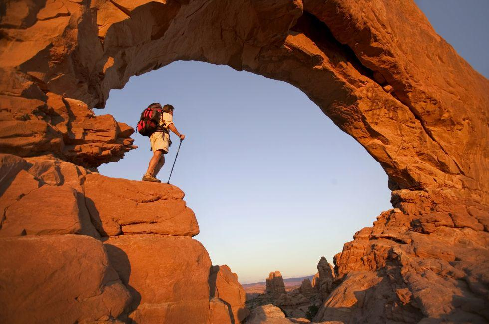 Backpacker, Arch, Arches National Park, Utah