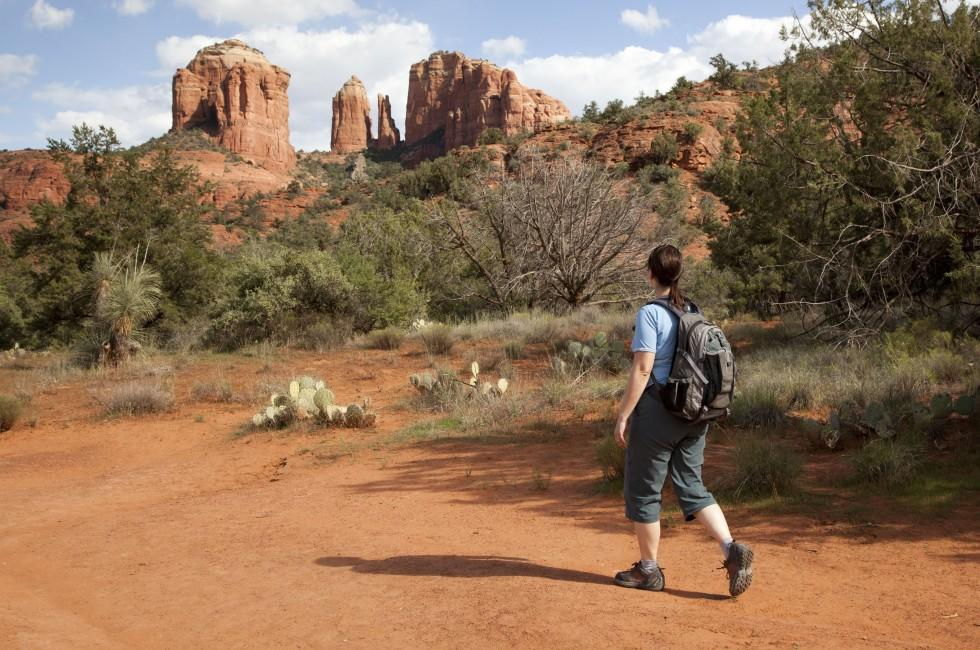 Hiker, Cathedral Rock, Sedona and Oak Creek Canyon, Arizona, USA