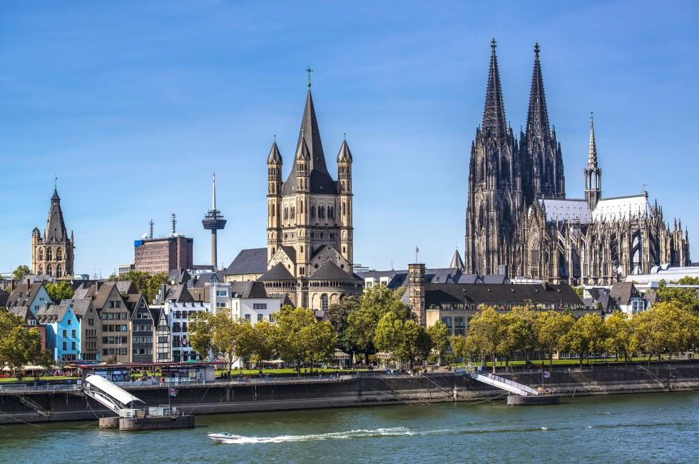 Rhine River, Waterfront, Cologne Cathedral, Cologne, Germany