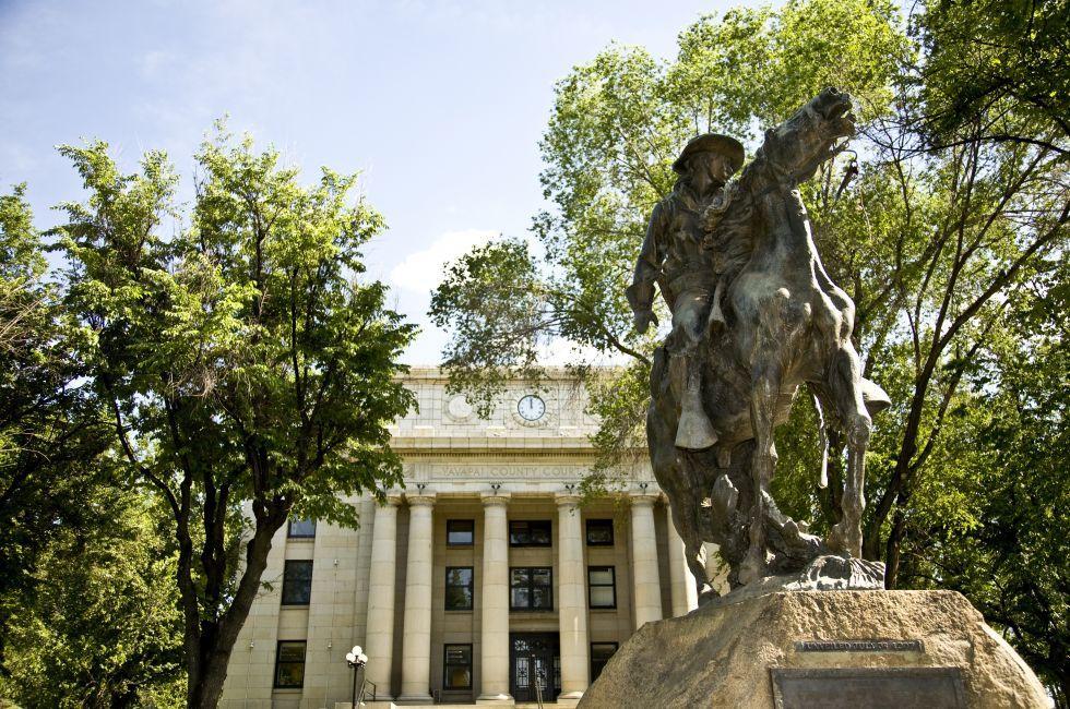 Statue, Yavapai County Courthouse, Prescott, Arizona, USA