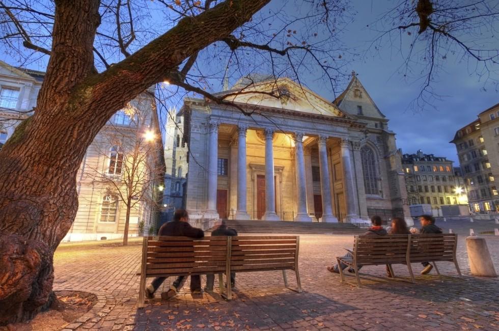Public Square, Facade, St. Pierre Cathedral, Geneva, Switzerland