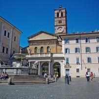 Fountain, Piazza, Santa Maria in Trastevere, Rome, Italy