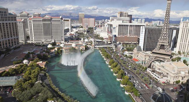 Aerial View, Bellagio, Ceasar's Palace, Paris, Center Strip, Las Vegas, Nevada, USA, North America