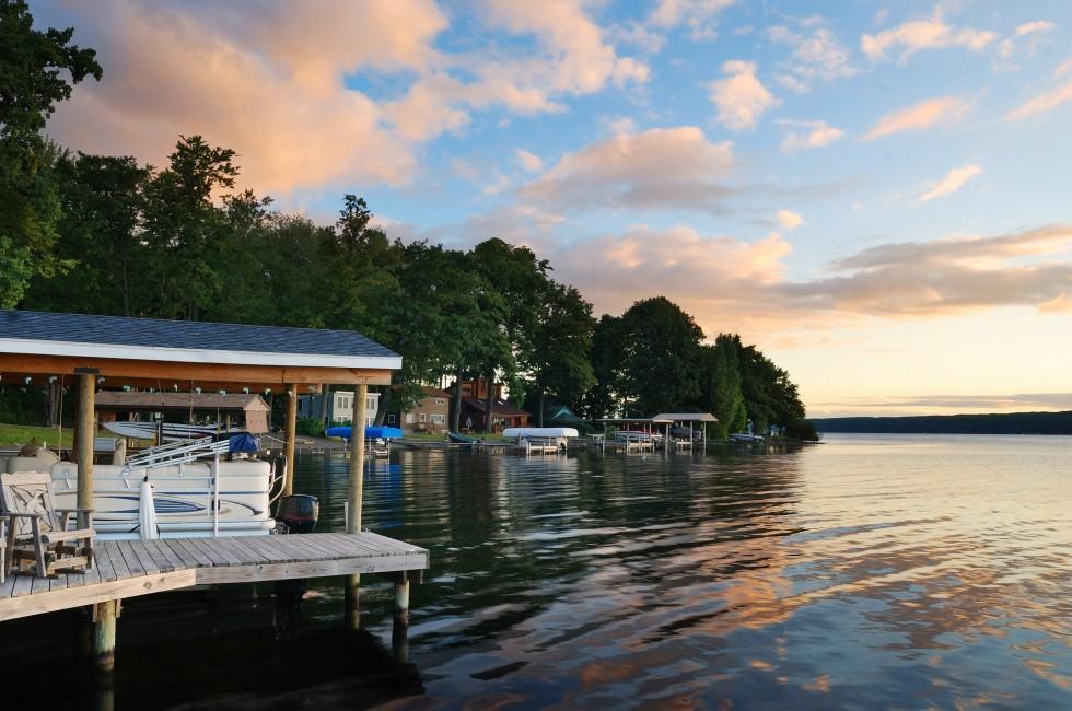 Sunset, House, Lake, The Finger Lakes, New York, USA