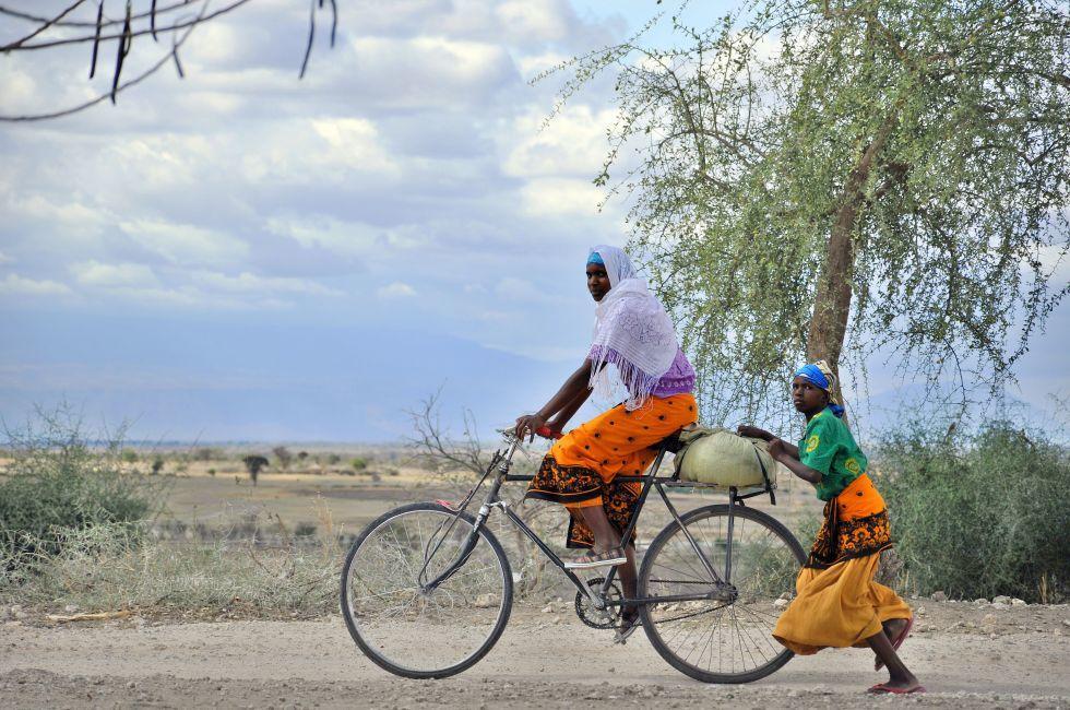 Bicycling, Savanna, Ngorongoro Crater, Tanzania