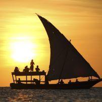 Sunset, Boat, Dhow, Zanzibar, Tanzania