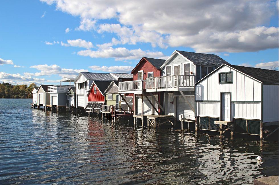 Houses, Lake, Canandaigua Lake, Finger Lakes, New York