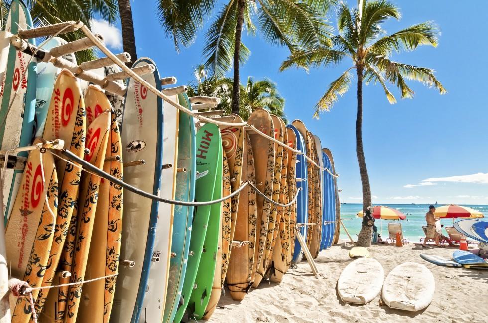 Surfboards, Waikiki Beach, Honolulu and Oahu, Hawaii, USA