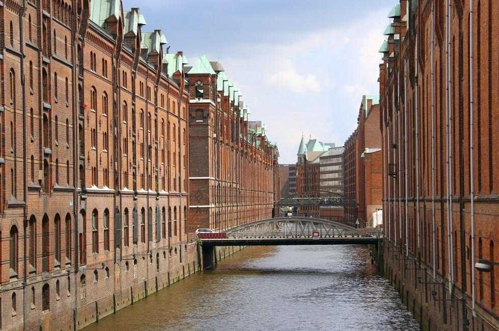 Bridge, Elbe River, Warehouses, Hamburg, Germany