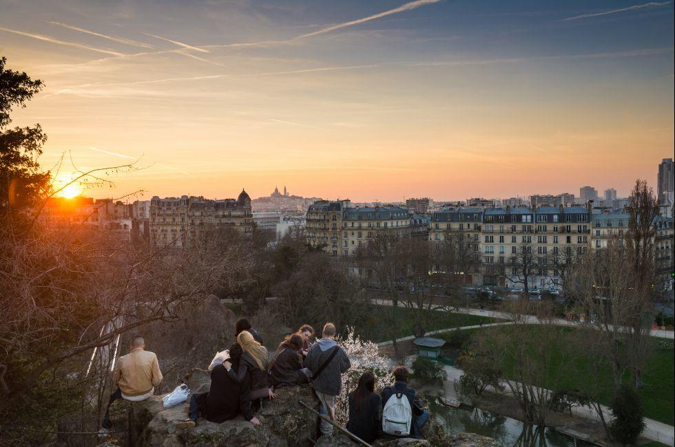 Les Buttes Chaumont Park, Montmartre, Paris, France