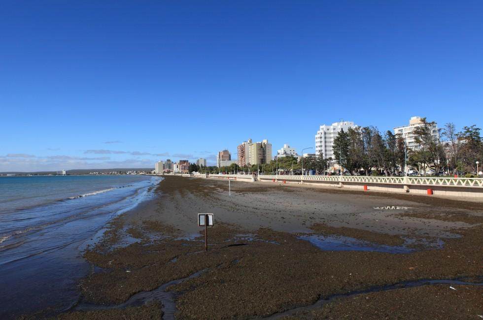 Beach, Coastline, Buildings, Puerto Madryn, Patagonia, Argentina