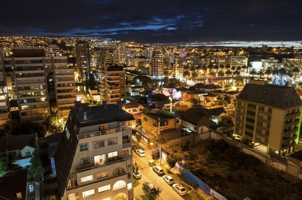 Cityscape, Night, Valparaiso, The Central Coast, Chile