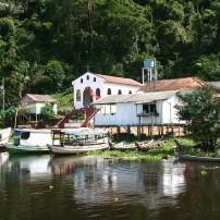 Boats, Church, Waterfront, Village, Boca de Valeria, The Amazon, Brazil