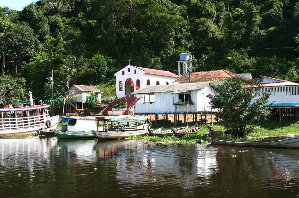 Boats, Church, Waterfront, Village, Boca de Valeria, The Amazon, Brazil