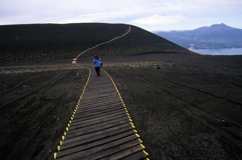 Boardwalk along the slopes of the osorno volcano, Chile