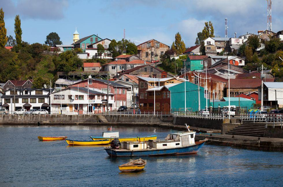 Boats, Houses, Chiloe, Chile
