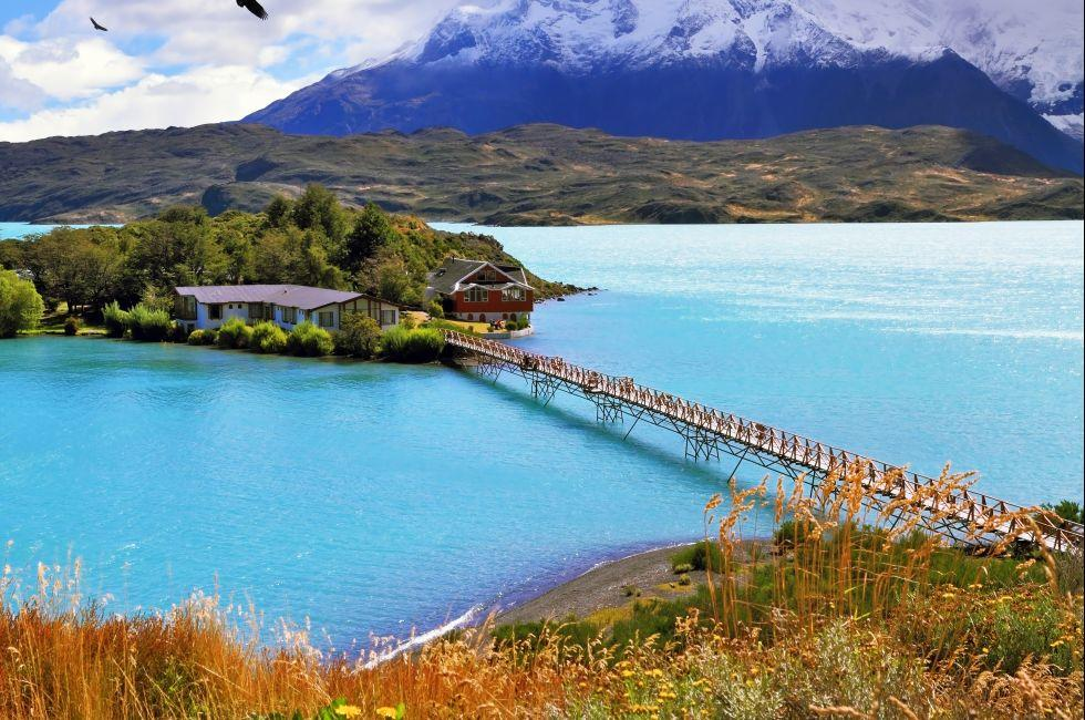 Bridge, Island, Lake Pehoe, Torres del Paine National Park, Patagonia, Chile