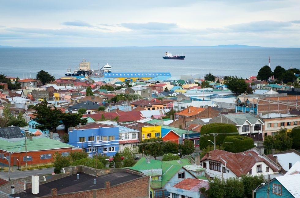 Cityscape, Waterfront, Punta Arenas, Strait of Magellan, Southern Chilean Patagonia, Chile, South America