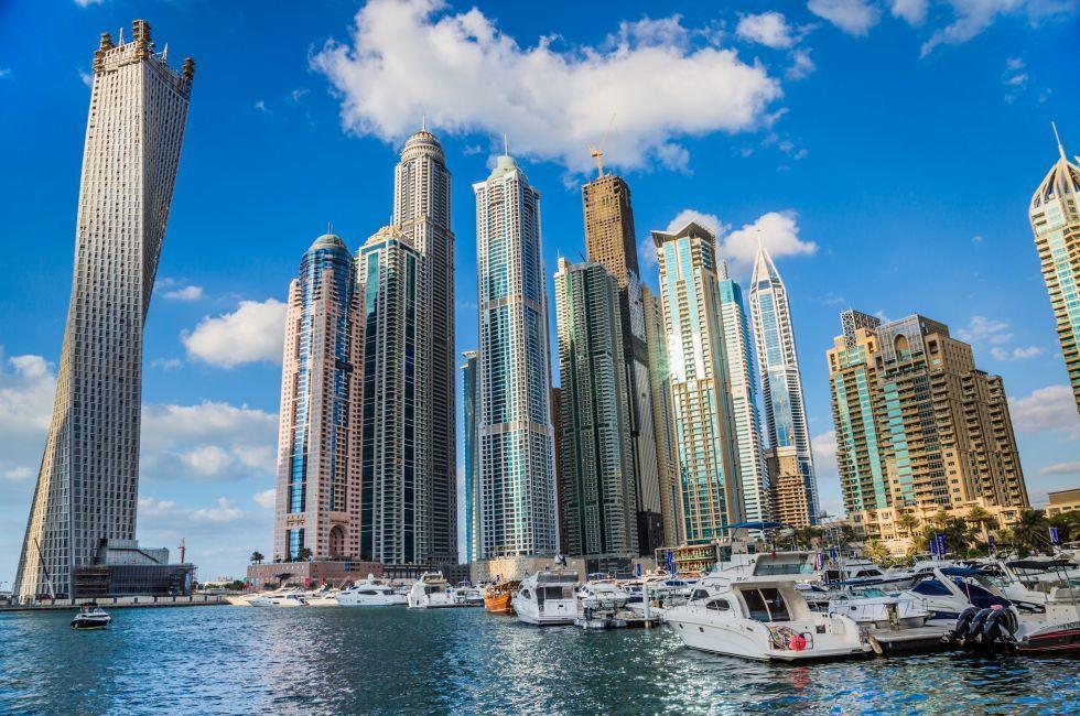 Boats, Cityscape, Skyline, Dubai Marina,