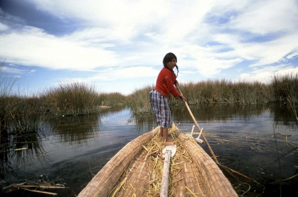 Girl, Boat, Lake Titicaca, The Southern Andes and Lake Titicaca, Peru, South America