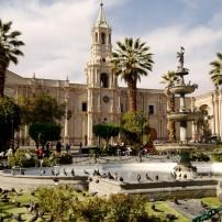 Fountain, Plaza, Cathedral, Matarani, Arequipa, The Southern Andes and Lake Titicaca, Peru