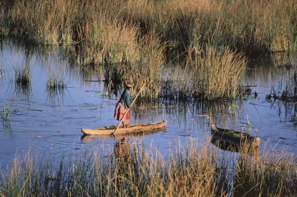 Lake Titicaca; Torturo reed boat; worlds highest Navigable lake; Peru