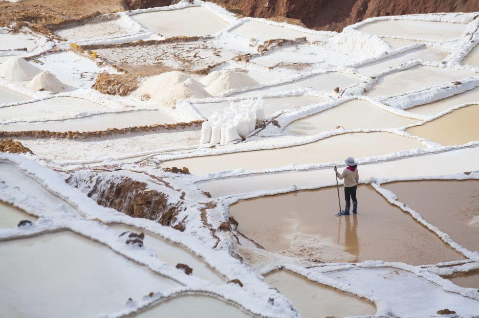 Saltworks, Worker, Maras, Cusco and the Sacred Valley, Peru