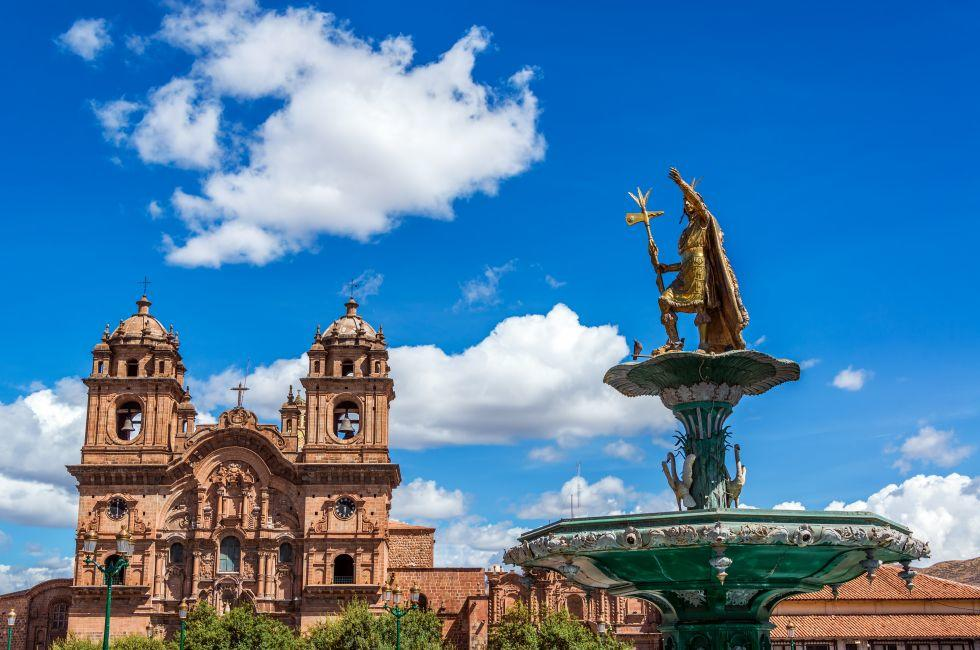 Church, Fountain, Plaza de Armas, Cusco, Peru