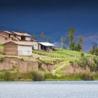 Houses, Lake Huancayo, The Central Highlands, Peru