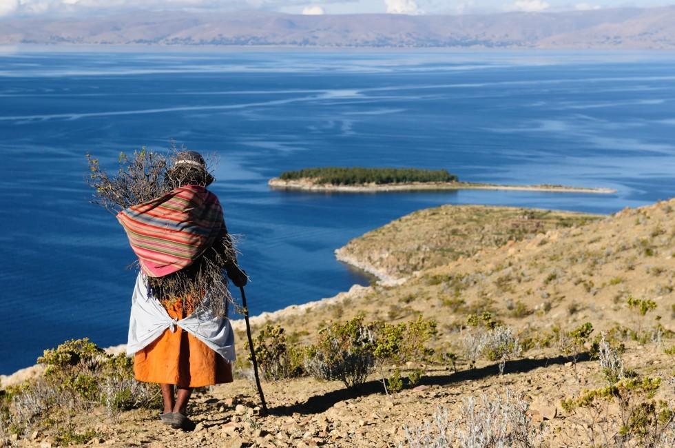 Woman, Isla del Sol, Lake Titicaca, Bolivia