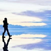 Hiker, Uyuni Salt Flats, Southern Bolivia, Bolivia