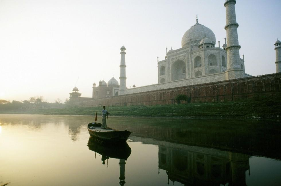Yamana River and Taj Mahal,, Agra, India