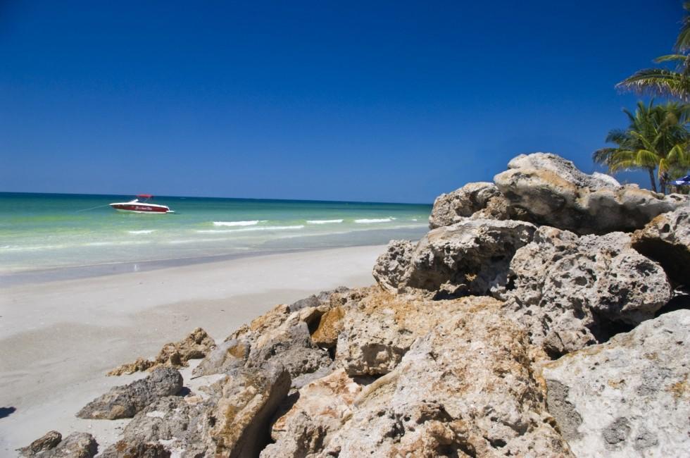 Beach, Boulders, Boat, Bradenton, Floriaa, USA