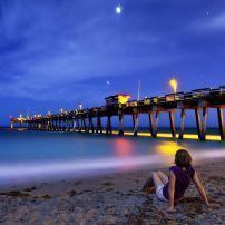 Night, Pier, Venice Beach, Florida
